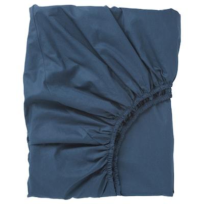ULLVIDE Fitted sheet, dark blue, Twin X-long