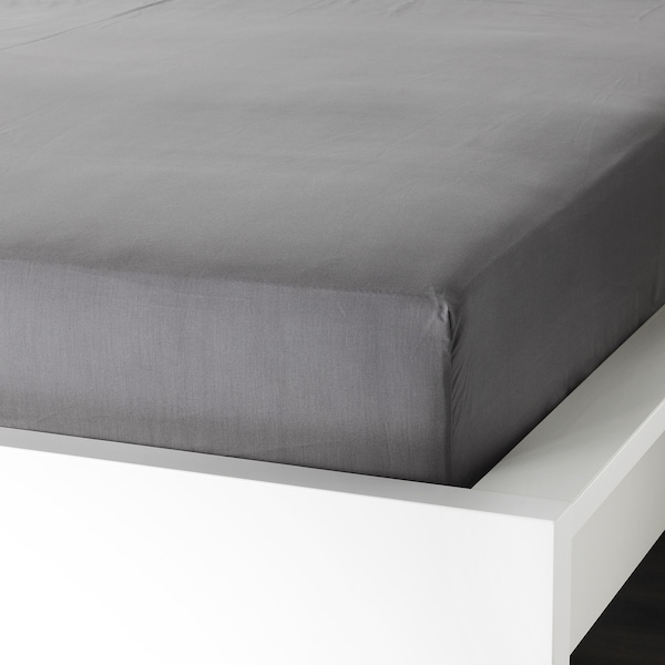 ULLVIDE Fitted sheet, gray, Twin
