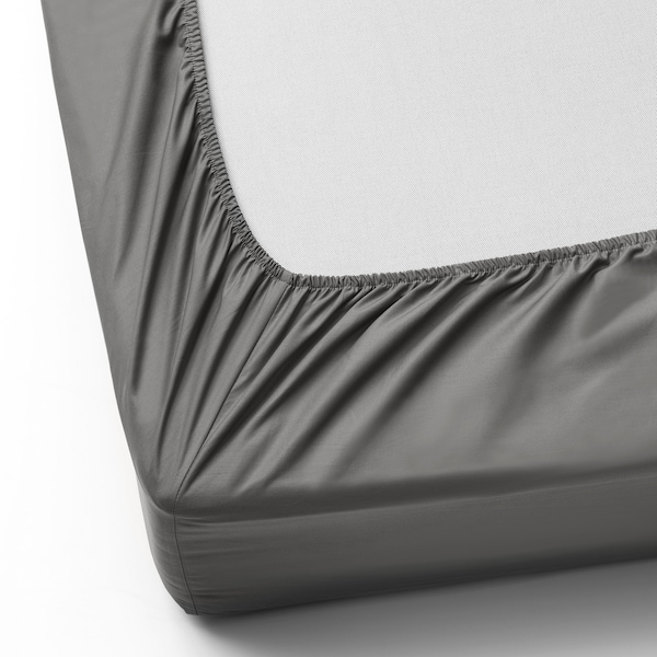 ULLVIDE Fitted sheet, gray, King