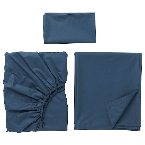ULLVIDE Sheet set, dark blue, Twin