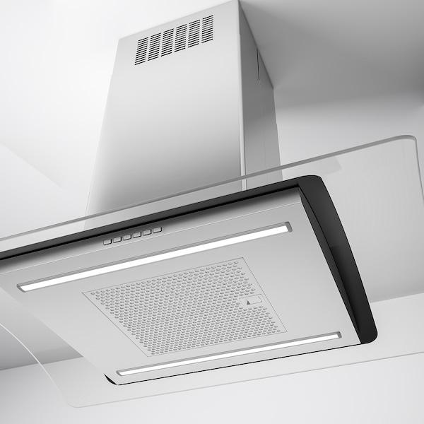 UNDANTAG Ceiling-mounted range hood, Stainless steel/glass