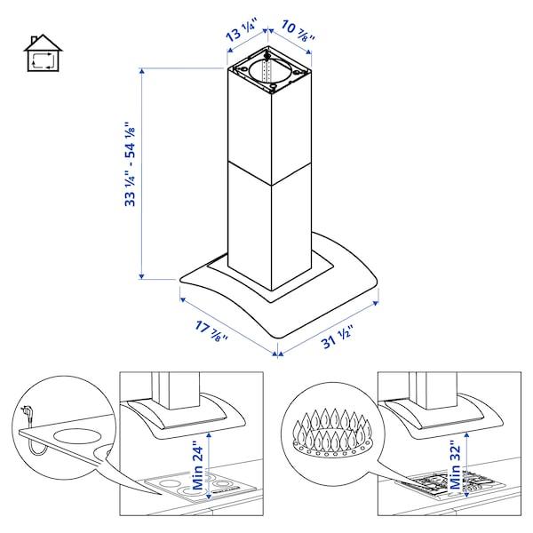 UNDANTAG Wall mounted range hood, Stainless steel/glass