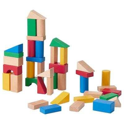 UNDERHÅLLA 50-piece wooden building block set, multicolor