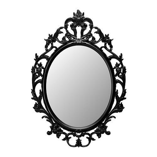 UNG DRILL Mirror, oval, black oval/black 23 1/4x33 1/2
