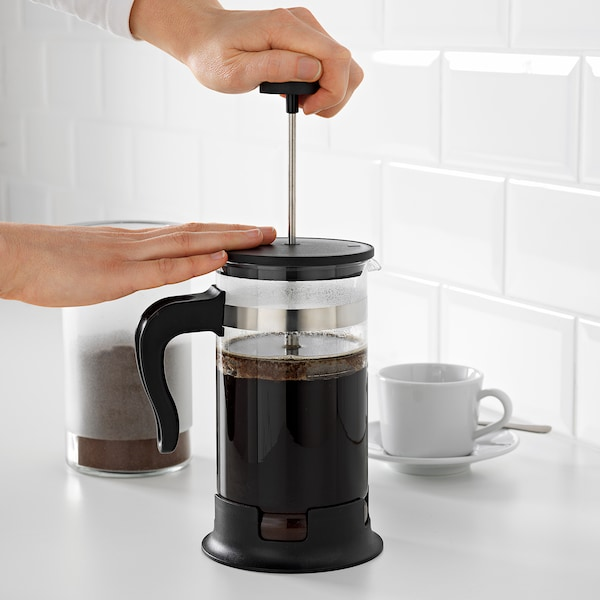 UPPHETTA French press coffee maker, glass/stainless steel, 34 oz