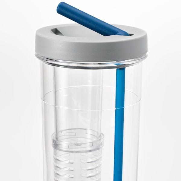 UPPLADDA Infuser bottle with straw, 24 oz
