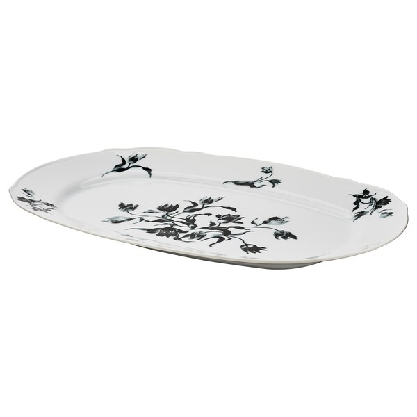 UPPLAGA Serving plate, white/patterned, 17x12 ""