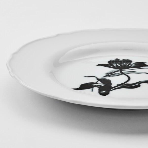 """UPPLAGA Side plate, white/patterned, 9 """""""