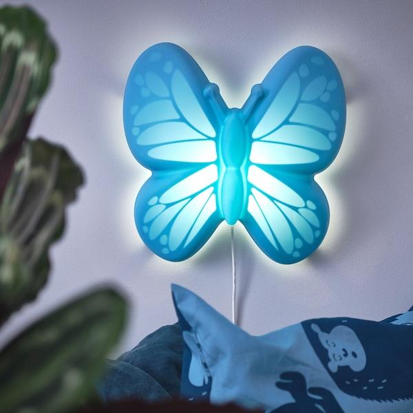 """UPPLYST LED wall lamp butterfly light blue 110 Lumen 11 """" 4 """" 11 """" 6 ' 7 """" 1.6 W"""