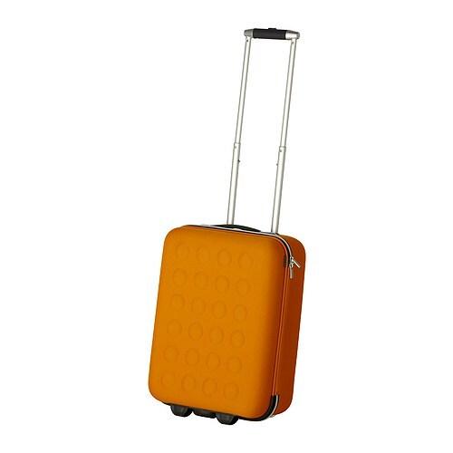 Uppt cka carry on bag with wheels yellow orange ikea for Ikea luggage cart