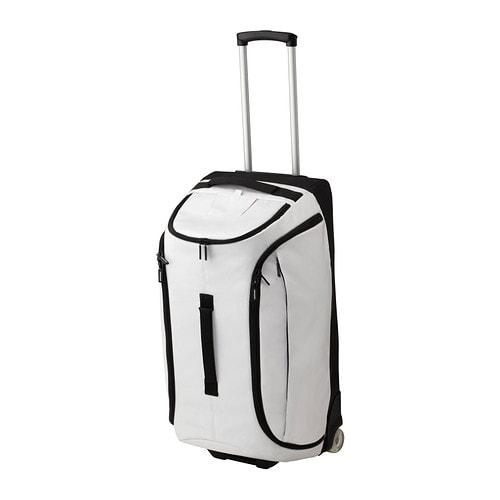 Uppt cka duffle bag on wheels white ikea for Ikea luggage cart