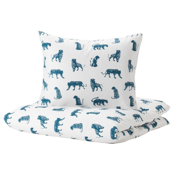 URSKOG Duvet cover and pillowcase(s), tiger/blue, Twin