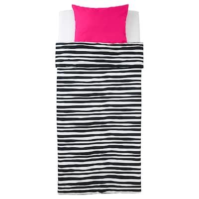 URSKOG Duvet cover and pillowcase(s), zebra/stripe, Twin