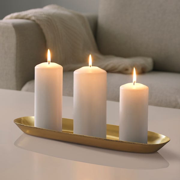 "UTVÄNDIG Candle dish, brass color, 19 ¾x6 """