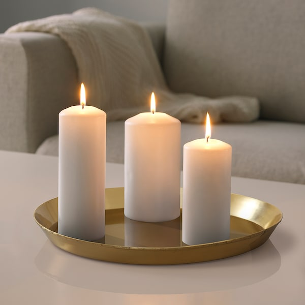 "UTVÄNDIG Candle dish, brass color, 16 """