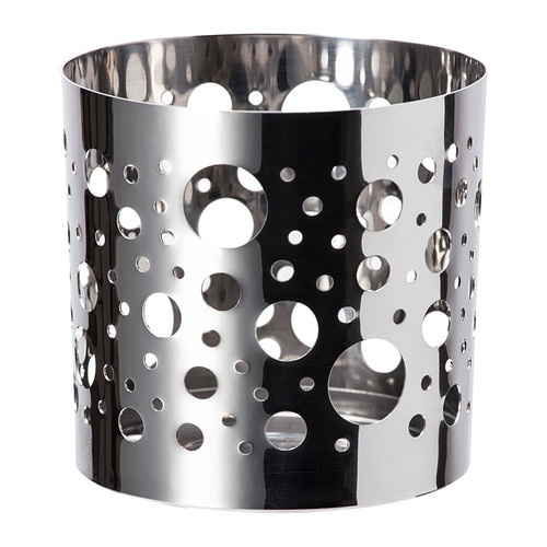VACKERT Decoration for candle in glass IKEA The shiny metal decorative holder has a pattern that creates an exciting accent in the room.