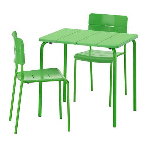V dd table 2 chairs outdoor green ikea for Ikea panche