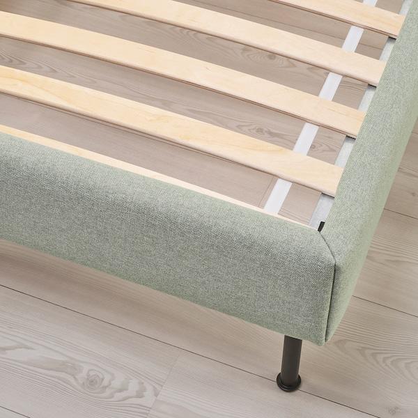 VADHEIM Upholstered bed frame, Gunnared light green, Queen