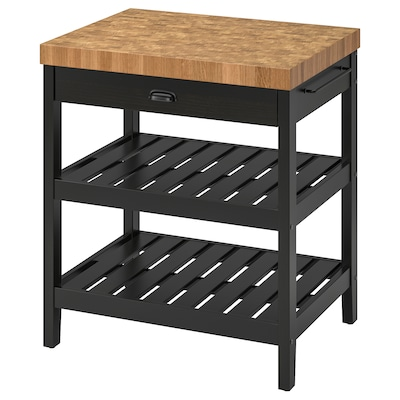 VADHOLMA Kitchen island, black/oak, 31 1/8x24 5/8x35 3/8 ""