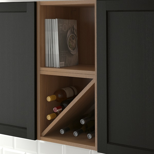 VADHOLMA Wine shelf, brown/stained ash, 15x14 3/8x15 ""
