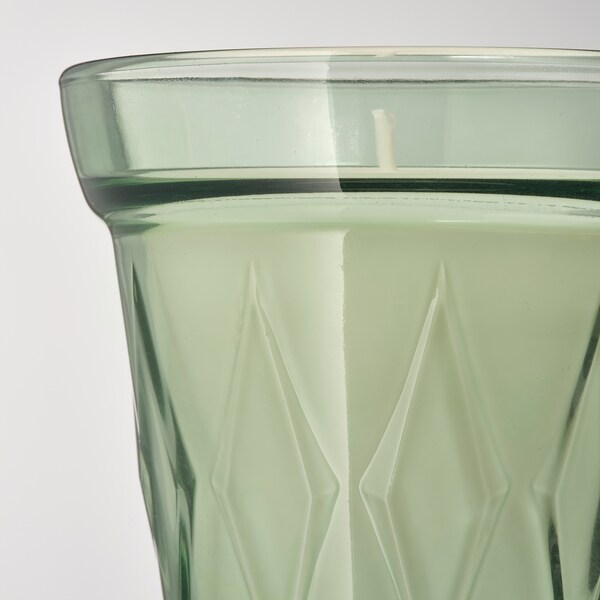 """VÄLDOFT Scented candle in glass, Morning dew/light green, 3 ¼ """""""