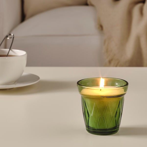 "VÄLDOFT scented candle in glass Thyme/dark green 3 ¼ "" 3 ¼ "" 25 hr"