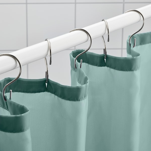 VÄNNEÅN Shower curtain, gray-turquoise, 71x71 ""