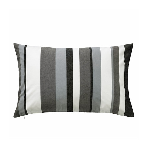 VALBORG Cushion cover IKEA Zippered cover is easy to remove for washing.  Yarn-dyed; the colors are retained wash after wash.