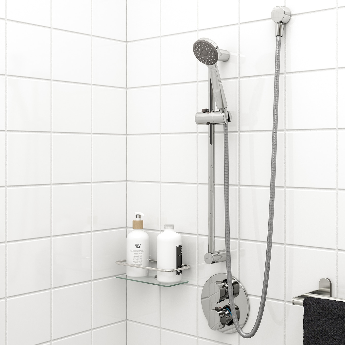 Steel Hose Chrome Shower Head Holder Riser Rail Bar Complete with Shower Head