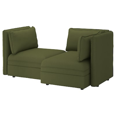 "VALLENTUNA modular loveseat with storage/Orrsta olive-green 73 1/4 "" 44 1/2 "" 33 1/8 "" 39 3/8 "" 63 "" 17 3/4 """