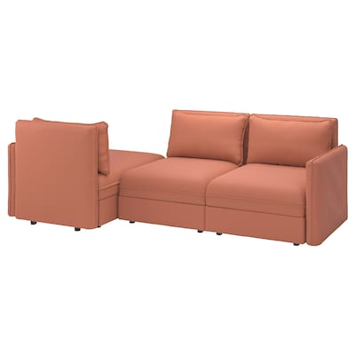VALLENTUNA 3-seat modular sleeper sofa, with storage Kelinge/rust