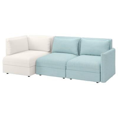 """VALLENTUNA sectional, 3-seat with storage/Hillared/Murum light blue/white 104 3/4 """" 33 1/8 """" 36 5/8 """" 44 1/2 """" 31 1/2 """" 39 3/8 """" 17 3/4 """""""