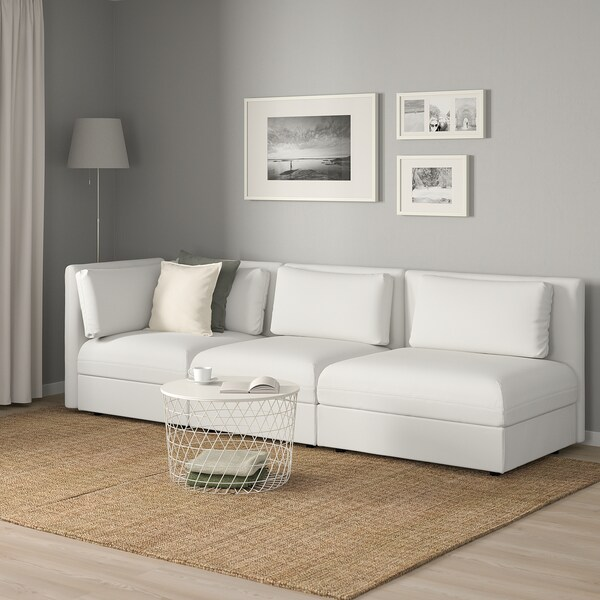 """VALLENTUNA sectional, 3-seat with open end and storage/Murum white 107 1/2 """" 36 5/8 """" 33 1/8 """" 17 3/4 """""""