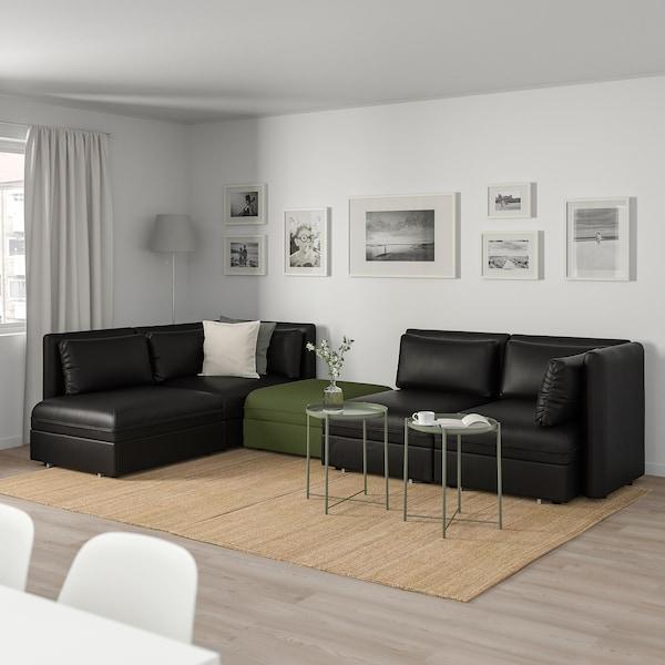 "VALLENTUNA mod sofa, 4 seat w 3 slpr sections and storage/Murum/Orrsta black/olive-green 33 1/8 "" 36 5/8 "" 44 1/2 "" 136 1/4 "" 83 7/8 "" 31 1/2 "" 39 3/8 "" 17 3/4 "" 63 "" 78 3/4 """