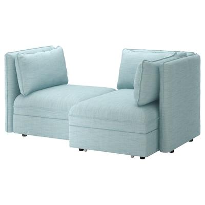 VALLENTUNA Mod sofa, 2 seat w slpr section, and storage/Hillared light blue