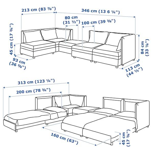 VALLENTUNA Mod sofa, 4 seat w 3 slpr sections, and storage/Murum/Orrsta black/olive-green