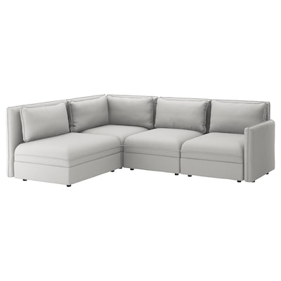 "VALLENTUNA modular corner sofa, 3-seat with storage/Orrsta light gray 36 5/8 "" 33 1/8 "" 104 3/4 "" 76 "" 31 1/2 "" 17 3/4 """