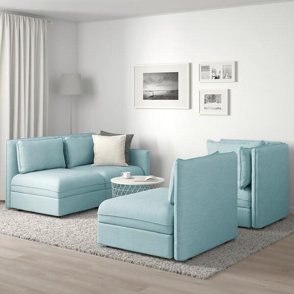 """VALLENTUNA modular corner sofa, 3-seat with storage/Hillared light blue 36 5/8 """" 33 1/8 """" 104 3/4 """" 76 """" 31 1/2 """" 17 3/4 """""""