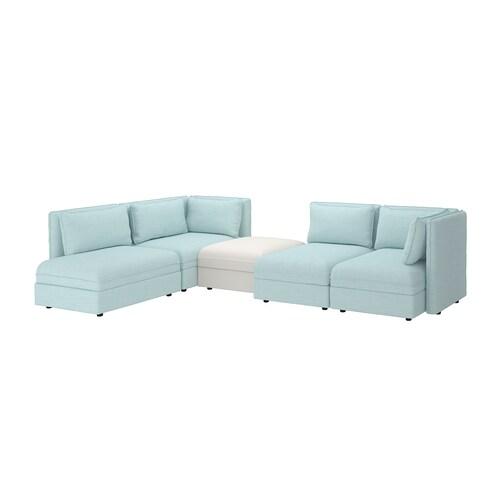 "VALLENTUNA modular corner sofa, 4-seat with storage/Hillared/Murum light blue/white 33 1/8 "" 36 5/8 "" 44 1/2 "" 136 1/4 "" 83 7/8 "" 31 1/2 "" 39 3/8 "" 17 3/4 """