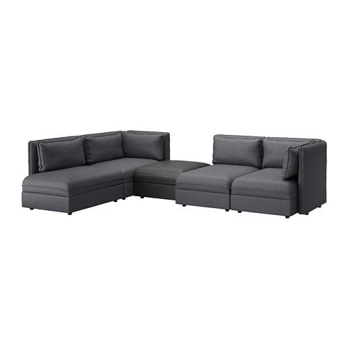 VALLENTUNA Modular corner sofa, 4-seat - with storage/Hillared/Murum ...