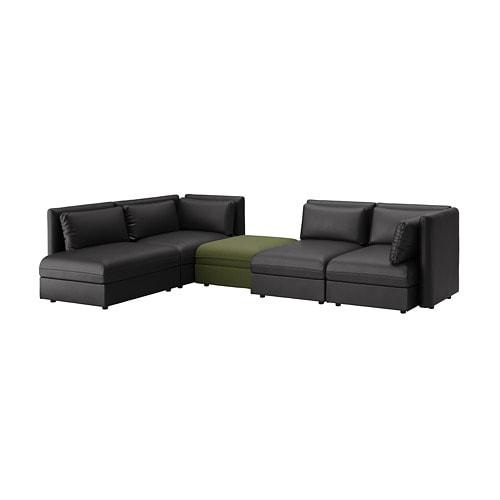 VALLENTUNA Modular corner sofa, 4-seat, with storage, Murum/Orrsta  black/olive-green