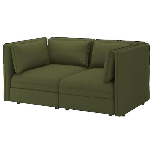 "VALLENTUNA modular loveseat Orrsta olive-green 73 1/4 "" 44 1/2 "" 33 1/8 "" 39 3/8 "" 17 3/4 """