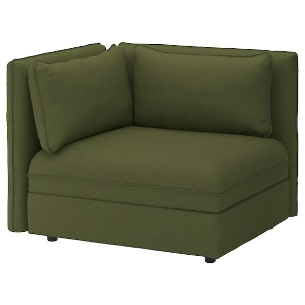 "VALLENTUNA sectional, 1-seat Orrsta olive-green 44 1/2 "" 36 5/8 "" 33 1/8 "" 31 1/2 "" 17 3/4 """