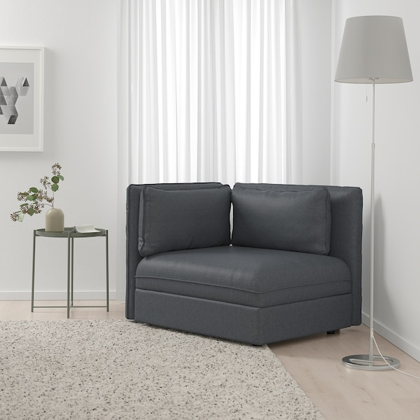 "VALLENTUNA sectional, 1-seat Hillared dark gray 44 1/2 "" 36 5/8 "" 33 1/8 "" 31 1/2 "" 17 3/4 """