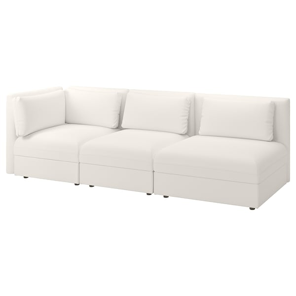 VALLENTUNA Sectional, 3-seat, with open end and storage/Murum white