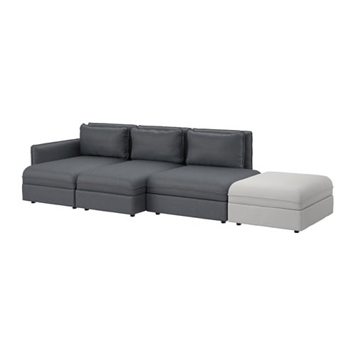 VALLENTUNA Sectional, 4-seat, Hillared dark gray, Orrsta light gray Hillared dark gray/Orrsta light gray