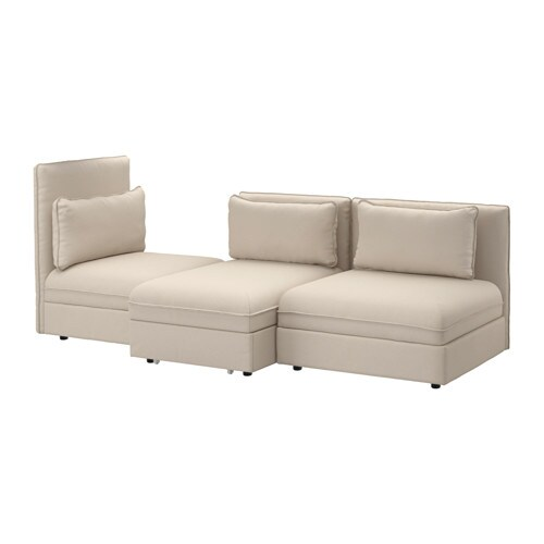 Vallentuna sleeper sectional 3 seat orrsta beige ikea for Sofa cama pequeno conforama