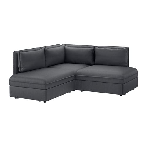 VALLENTUNA Sleeper sectional, 2-seat, Hillared dark gray Hillared dark gray -