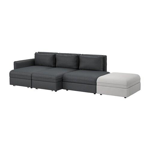 VALLENTUNA Sleeper sectional, 4-seat, Hillared dark gray, Orrsta light gray Hillared dark gray/Orrsta light gray -