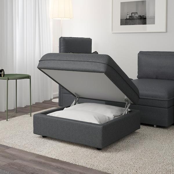 VALLENTUNA Storage seat section, Hillared dark gray